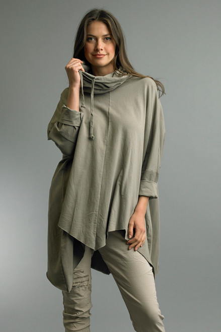 Tempo Paris Taupe Roll Neck Long Dolman Sleeve One Size Poncho