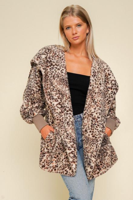 Hem & Thread Brown Leopard Sherpa Fleece Long Sleeve Cozy Open Jacket