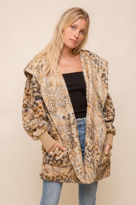 Hem & Thread Gold Leopard Sherpa Fleece Long Sleeve Cozy Open Jacket