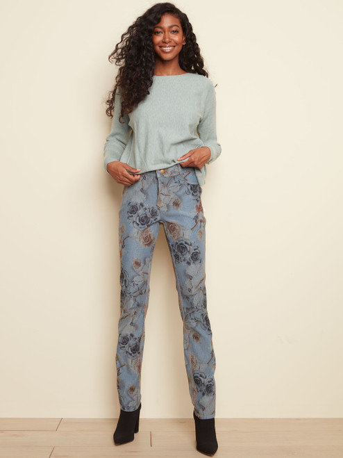 Charlie B Ginger Floral Stretchy Reversible Skinny Jean with Pockets