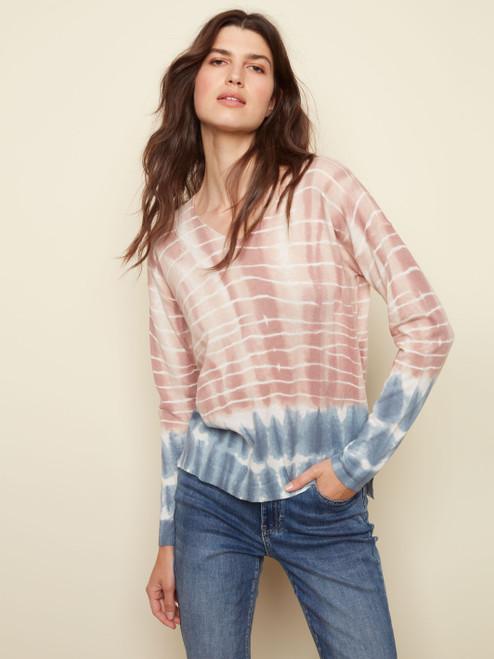 Charlie B Misty Pink Cotton Blend V-Neck Long Sleeve Sweater