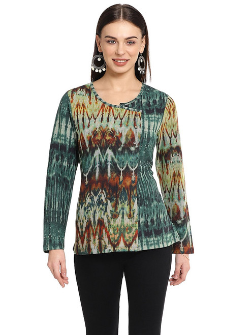 Parsley & Sage Amber & Green Cotton Blend Scoopneck Long Sleeve Knit Pullover