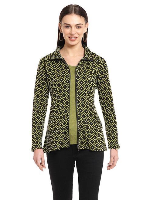 Parsley & Sage Moss Green Cotton Blend Terra Knit Jacket with Pockets
