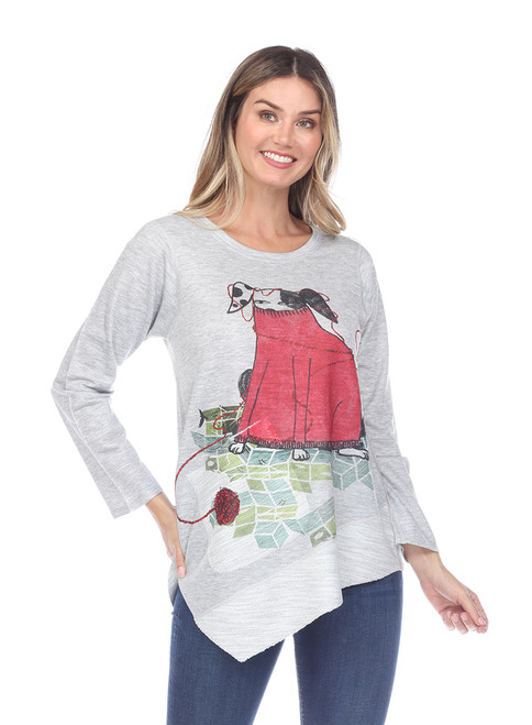 Inoah Stay Warm French Terry Long Sleeve Aline Asymmetrical Top with Pocket