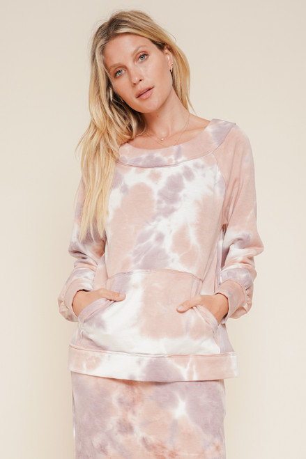 Hem & Thread Mauve Tie Dye Scoopneck Long Raglan Sleeve Pullover Sweater With Pocket