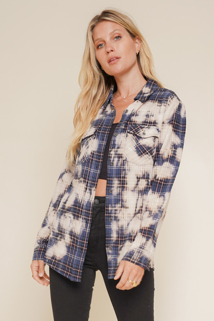 Hem & Thread Navy Bleached Check Cotton Long Sleeve Button Up Knit Shirt with Pockets
