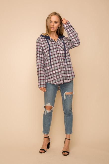 Hem & Thread Navy Cotton Blend Long Sleeve Button Up Contrasting Hoodie Knit Shirt