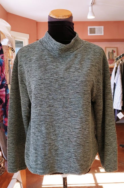 Cut Loose Tarragon Crimped Fabric Mock Neck Long Sleeve Boxy Relaxed Fit Sweater