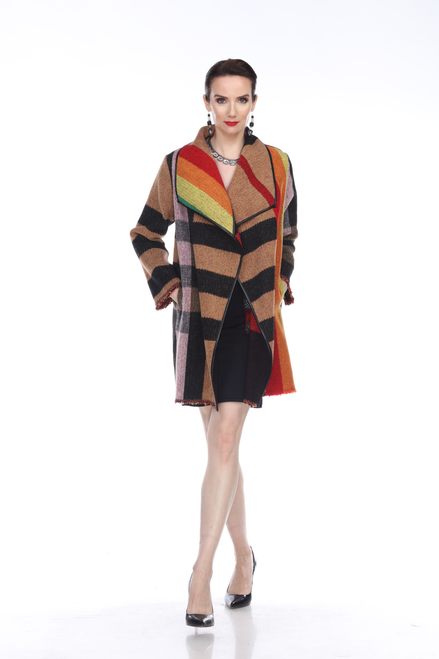 Aris A Colorful Wool Long Sleeve Open Front Raw Hem Jacket with Pockets