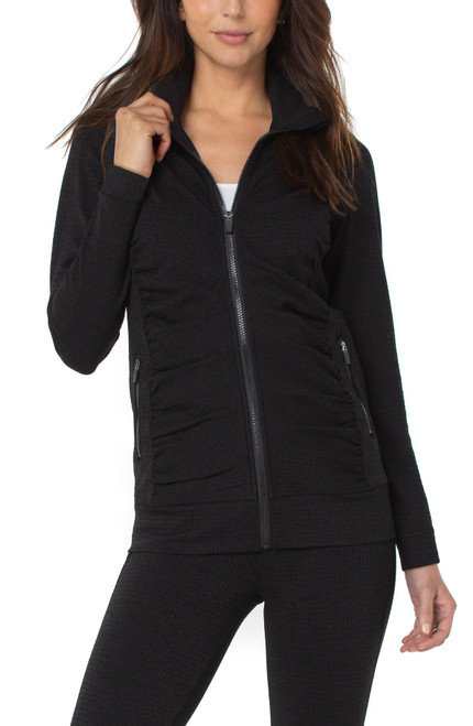 Liverpool Black Textured Knit Long Sleeve Zip Front Seamed Jacket with Pockets