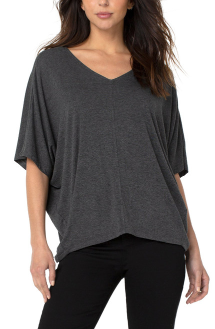 Liverpool Grey French Terry V-Neck Short Dolman Sleeve Relaxed Fit Tee