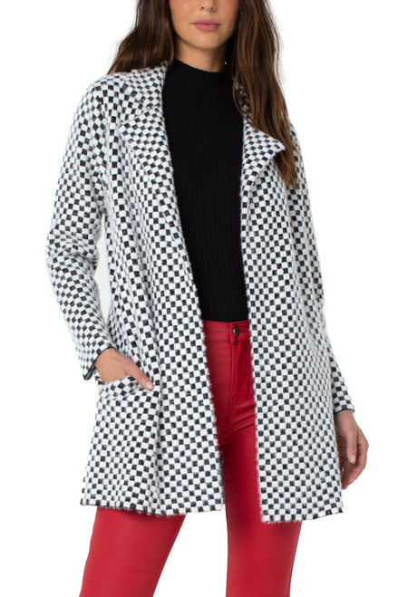 Liverpool Black & White Mini Check Long Sleeve Open Front Coatigan with Pockets