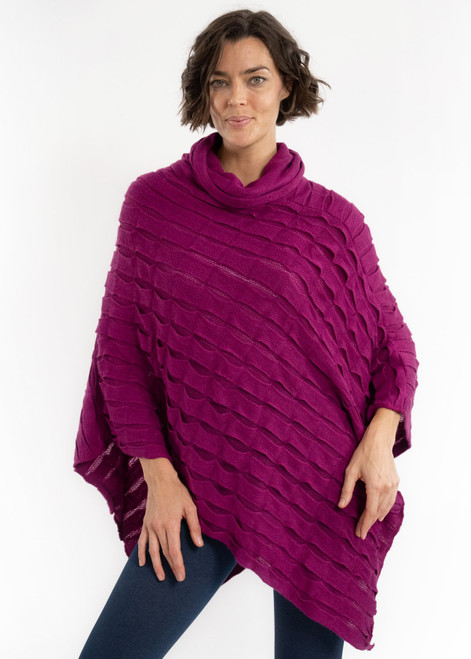 Elietian Fuchsia One Size Solid Knit Cowl Neck Pisces Poncho