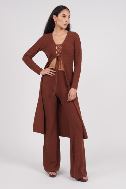 Another Girl Brown 100% Organic Cotton Long Sleeve Longline Knit Cardigan