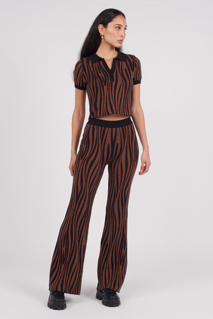 Another Girl Black & Brown 100% Organic Cotton Gathered Waist Flare Leg Knit Trouser