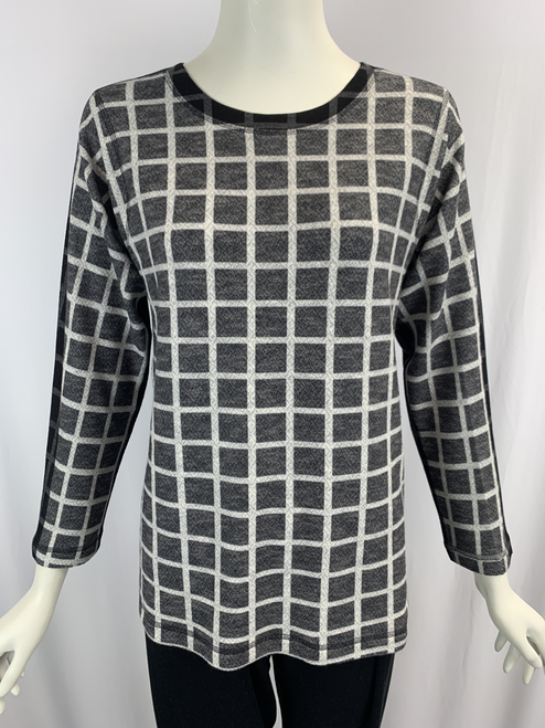 Nally & Millie Printed Black Squares Crew Neck Long Sleeve Knit Sweater