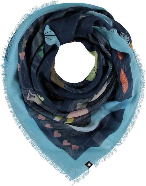 Fraas Navy Sustainable Oversized Forest Square Scarf
