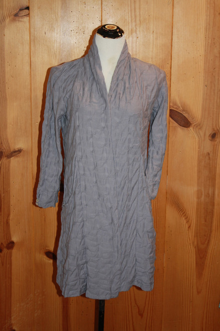 Komil Ice Blue Cotton Ruched Knit Long Open Pocket Cardigan
