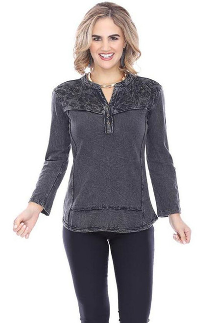 Parsley & Sage Black Wash Cotton Embroidered Top