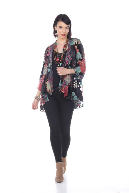 Aris A Black with Colorful Floral Burnout Velvet Open 3/4 Sleeve Cardigan