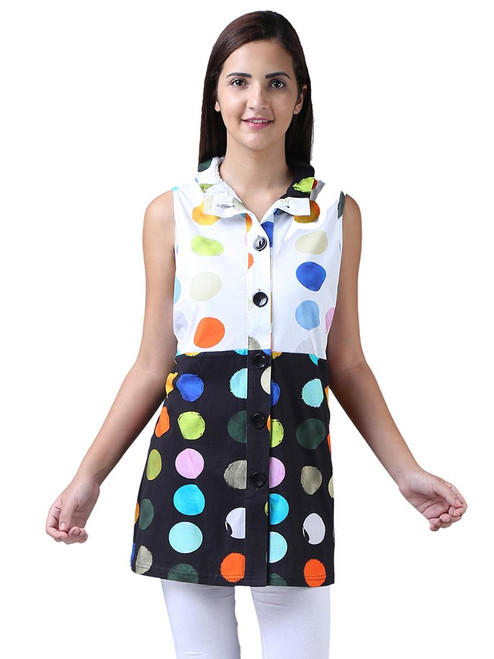 Parsley & Sage Contrasting Dot Button-Up Tunic Vest