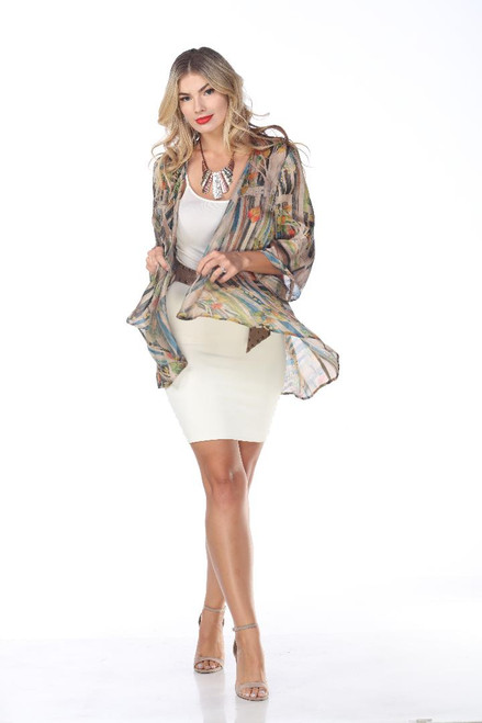 Aris A. Colorful Satin Chiffon 3/4 Sleeve open Drape Cardigan