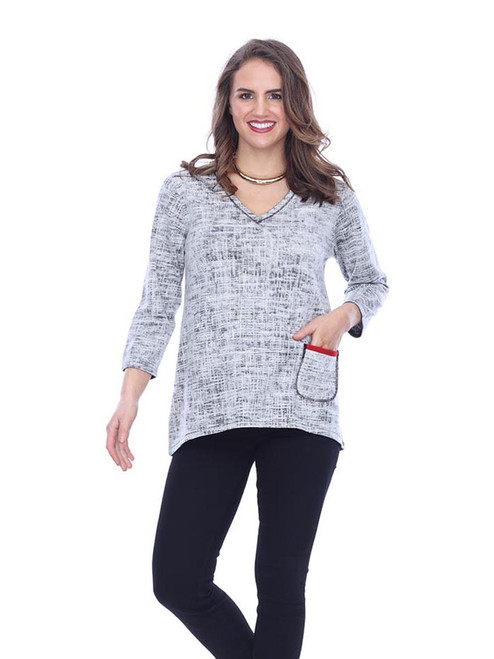 Parsley & Sage Black to Grey Reversible V-Neck 3/4 Sleeve Top