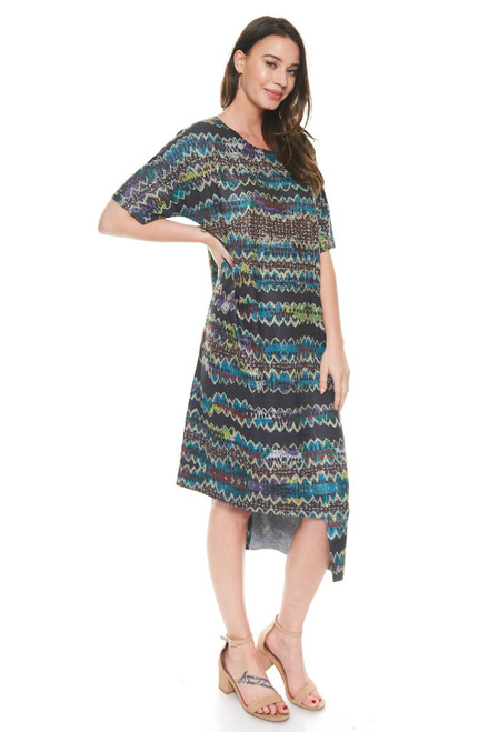 Inoah Colorful Abstract Stripe Short Sleeve Uneven Hem Knit Long Dress