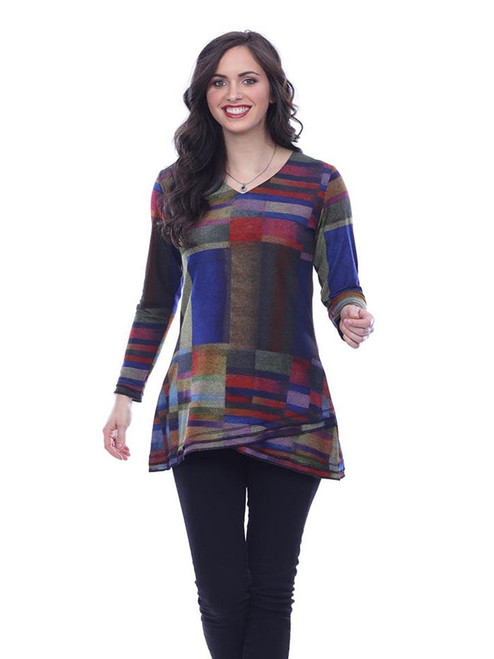 Parsley & Sage Colorful Abstract Long Sleeve V-Neck Knit Tunic