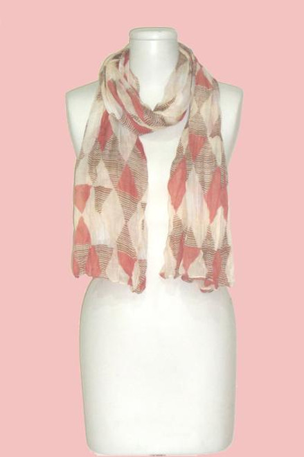 Vivante Brown Geometric Triangles Crinkle Scarf