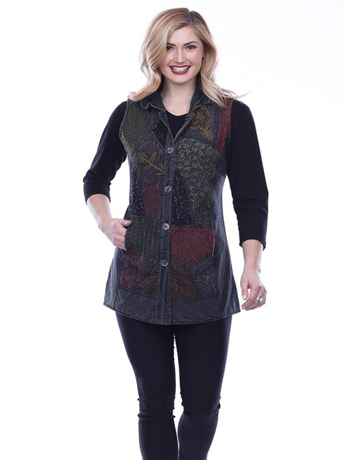 Parsley & Sage Reversible Charcoal Cotton Embroidered Patchwork Long Button-Up Vest