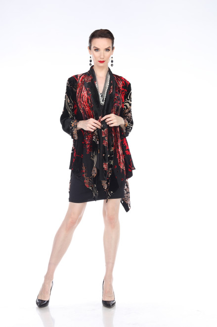 Aris A Colorful Floral Velvet Long Sleeve Open Cardigan