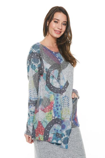 Inoah Heather Grey Colorful Cosmic Long Sleeve Uneven Hem Pocket Brushed Knit Top