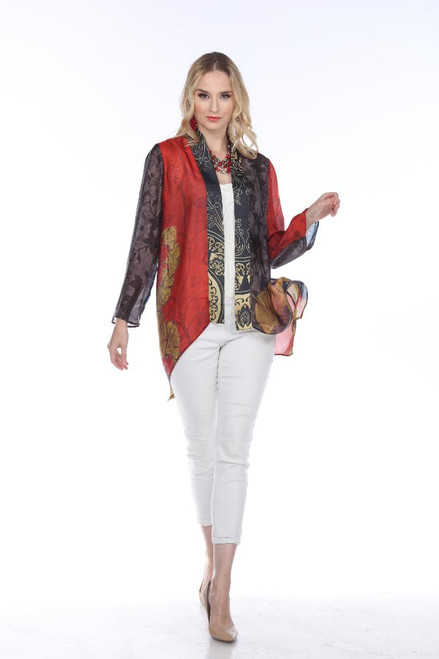 Aris A Colorful Abstract Floral Chiffon Long Sleeve Open Jacket