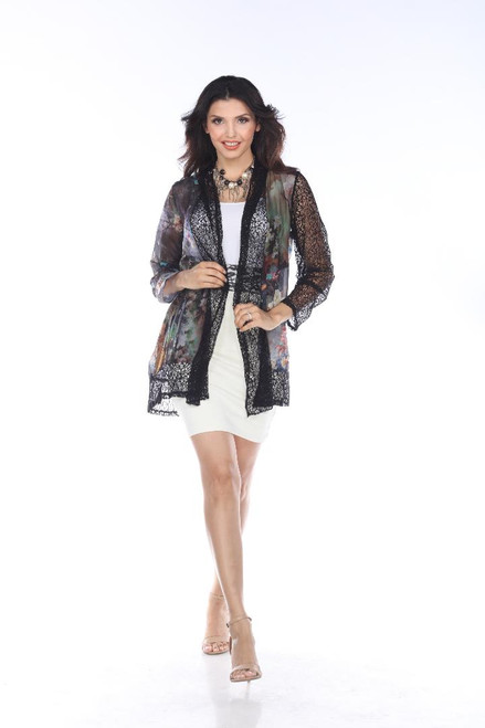 Aris A Floral Chiffon & Crochet Lace Open Long Sleeve Jacket