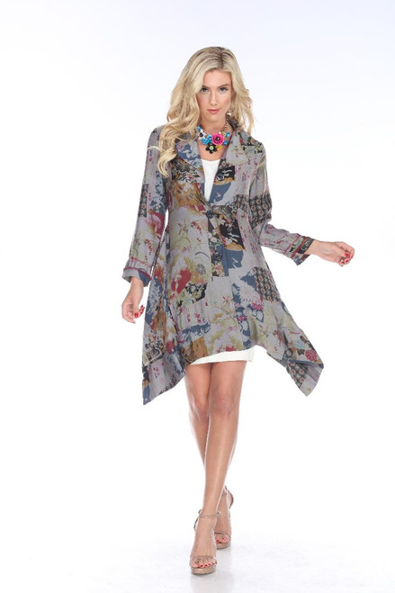 Aris A Blue Satin Floral Long Sleeve Button-Up Empire Flare Long Jacket