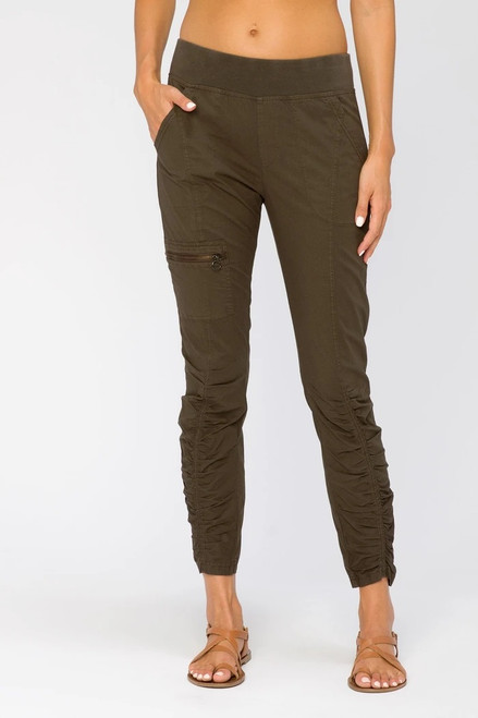 XCVI Wearables Dark Olive Pull-On Ruched Pants