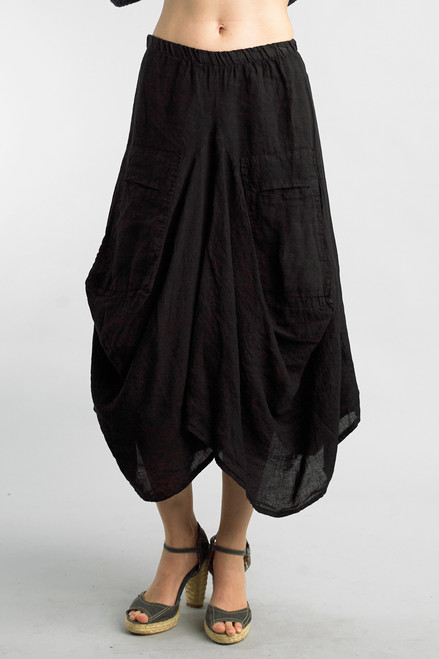 Tempo Paris Black Linen Relaxed Bubble Skirt
