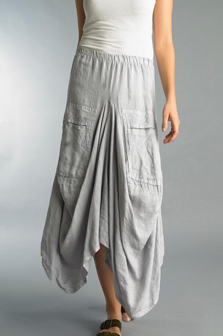 Tempo Paris Silver Grey Linen Relaxed Bubble Skirt