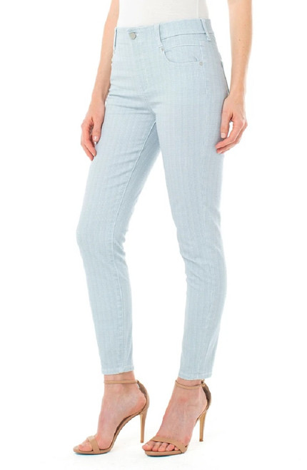 Liverpool Gia Glider Blue Houndstooth Recycled Cotton Crop Skinny Pull-On Pant