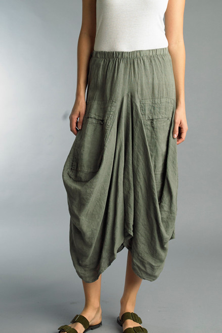 Tempo Paris Olive Linen Bubble Skirt