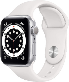 Apple Watch Series 6 GPS & Cellular 44mm - Silver Aluminum, White Sport Band