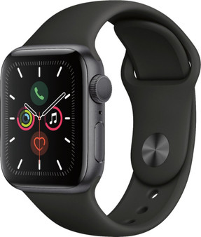 Apple Watch Series 5 GPS 40mm Space Gray Aluminum Case with Black Sport Band - Space Gray Aluminum