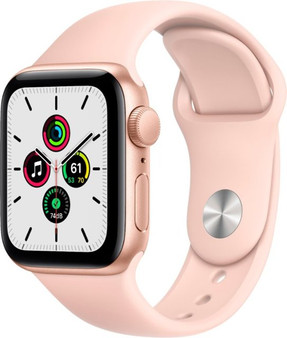 Apple Watch SE GPS 40mm Gold Aluminum Case with Pink Sand Sport Band | MYDN2