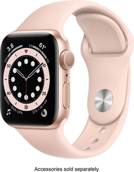 Apple Watch Series 6 GPS 40mm Gold Aluminum Case with Pink Sand Sport Band | MG123