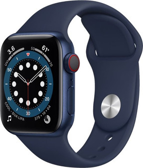 Apple Watch Series 6 GPS + Cellular 40mm Blue Aluminum Case with Deep Navy Sport Band | M02R3