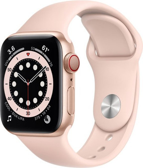 Apple Watch Series 6 GPS + Cellular 40mm Gold Aluminum Case with Pink Sand Sport Band | M02P3