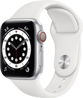 Apple Watch Series 6 GPS + Cellular 40mm Silver Aluminum Case with White Sport Band | M02N3