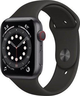 Apple Watch Series 6 GPS + Cellular 44mm Space Gray Aluminum Case with Black Sport Band | M07H3