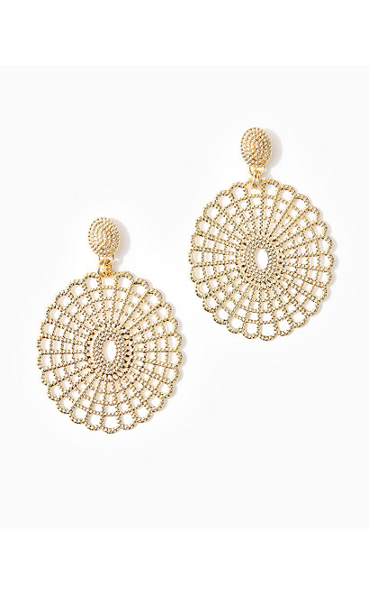 LILLY LACE STATEMENT EARRING - GOLD METALLIC
